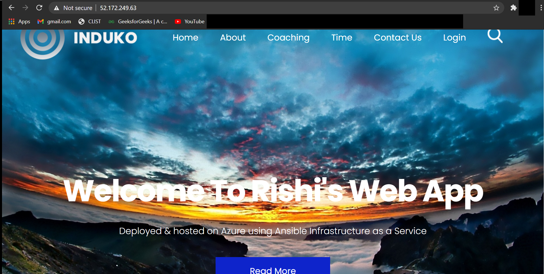 Our static web application is successfully hosted.