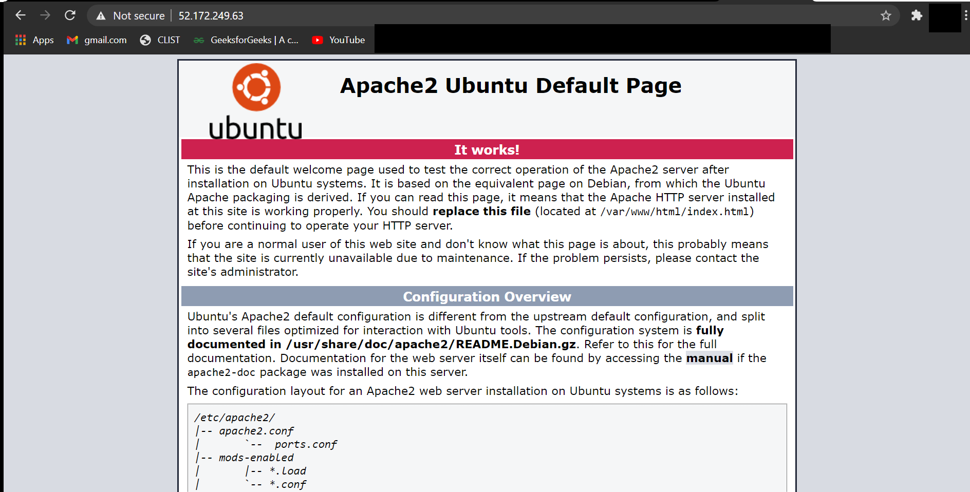 The web server is running & the default web page is successfully hosted.