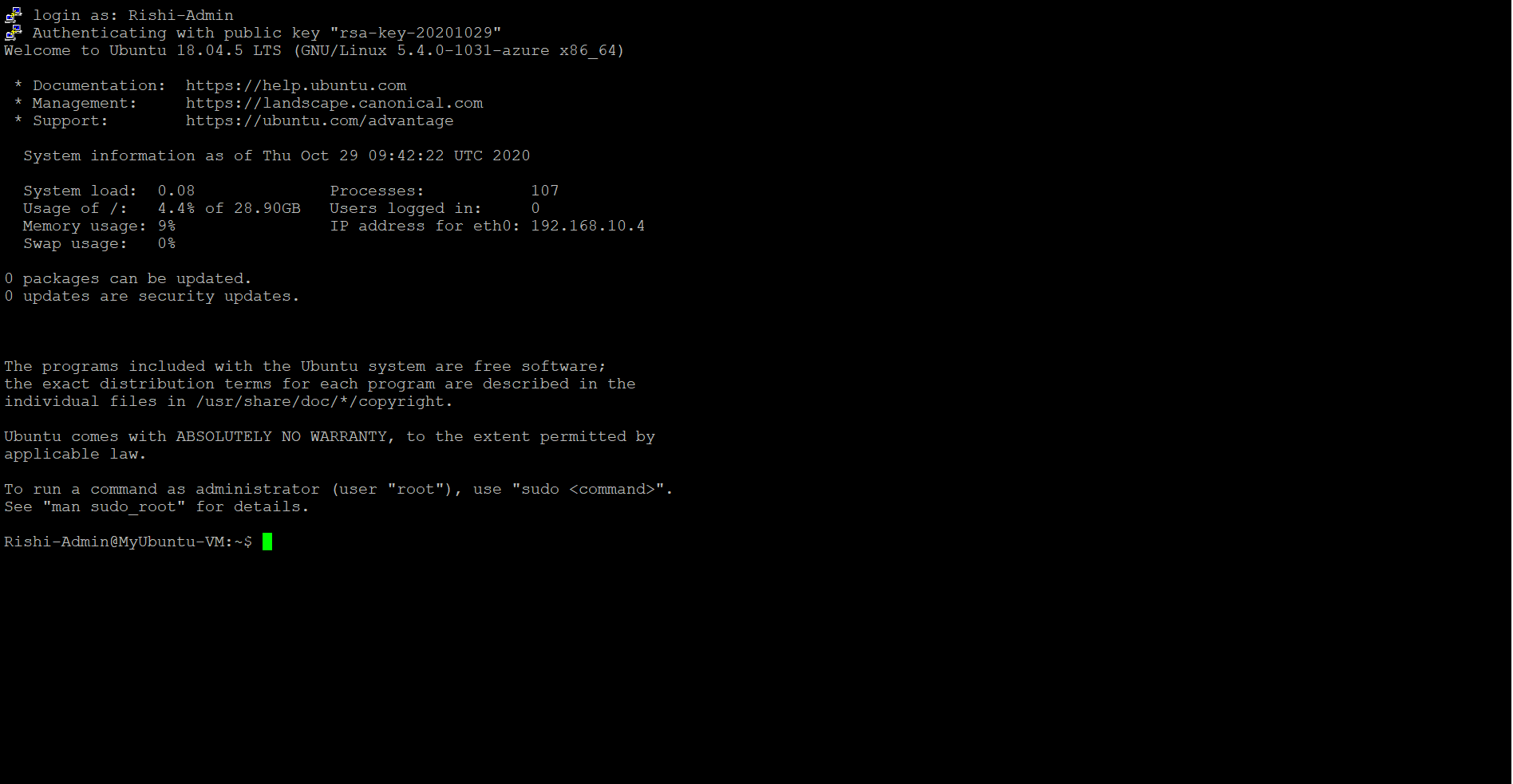 Virtual machine authentication successful.