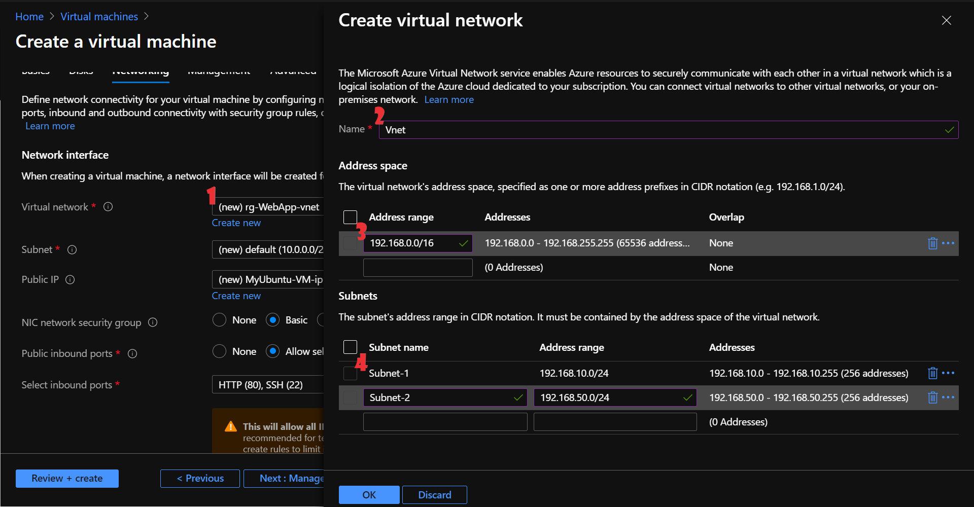 Configure the networking details required for the virtual machine. (1)