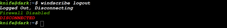 logout of windscribe cli