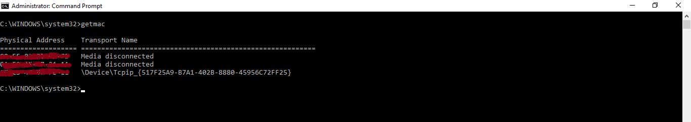 mac address using cmd
