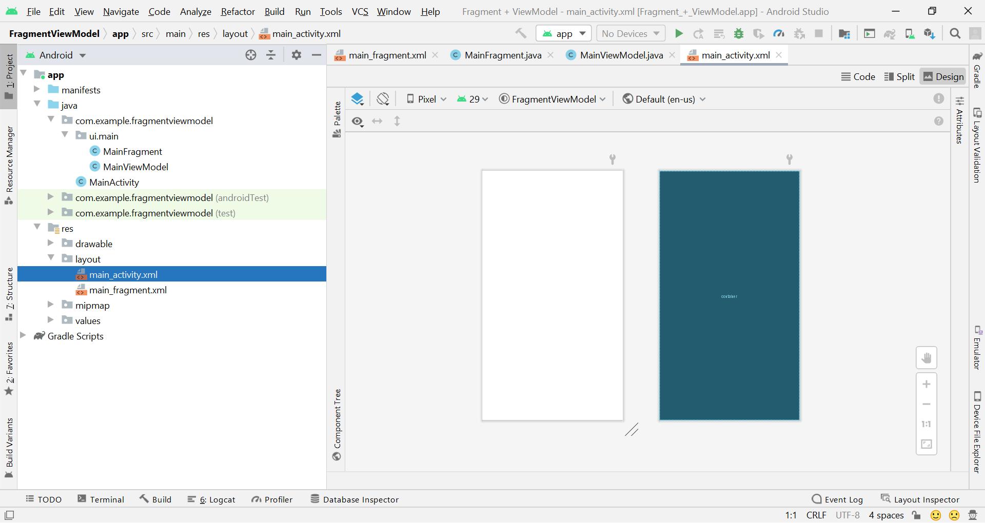 Fragment + ViewModel