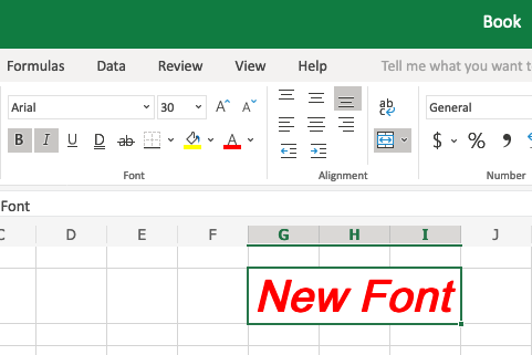 Apply fonts to the content of a cell