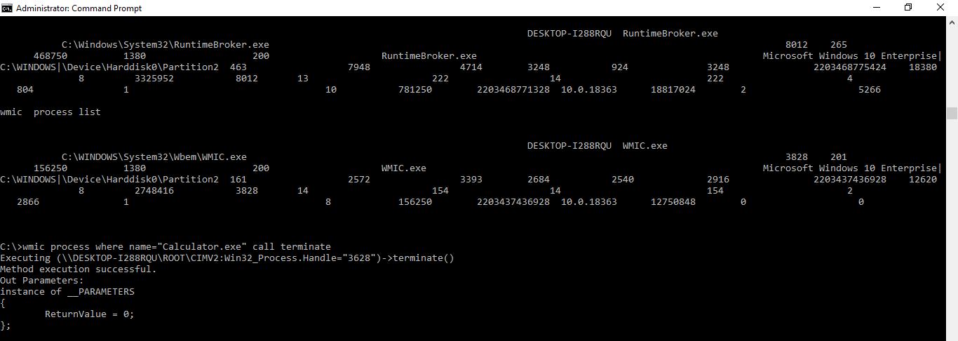"""wmic process where name=""""Calculator.exe"""" call terminate"""
