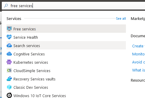 Azure Free Services