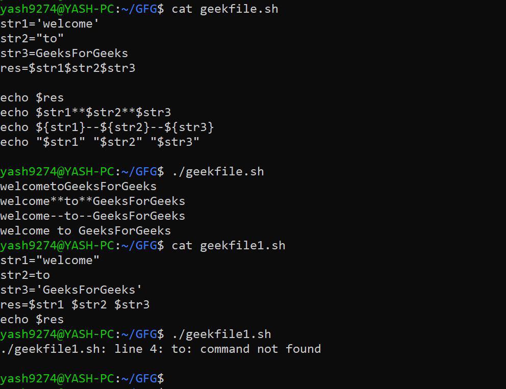 Concatenate strings inside Bash Shell using variables