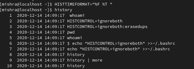 Histcontrol in linux