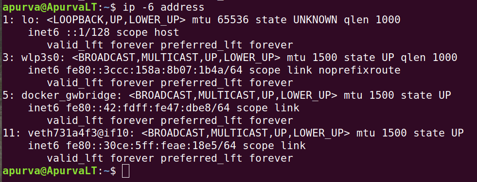 Display all the network devices with IPv6 address addresses only