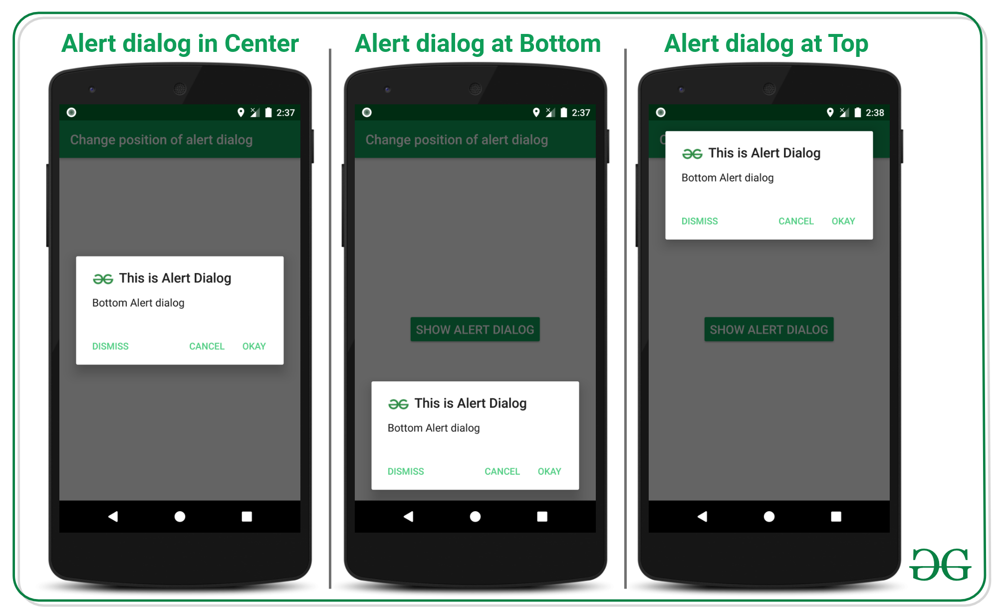 Change the Position of AlertDialog in Android