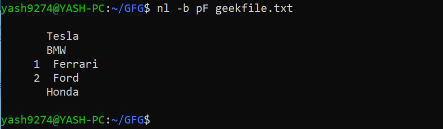 To number all logical lines that match the specified REGEX
