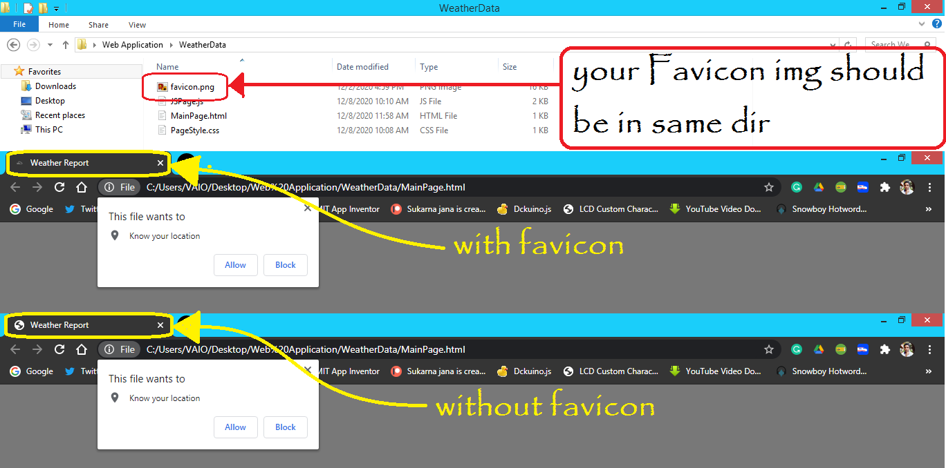How its Look with and without favicon