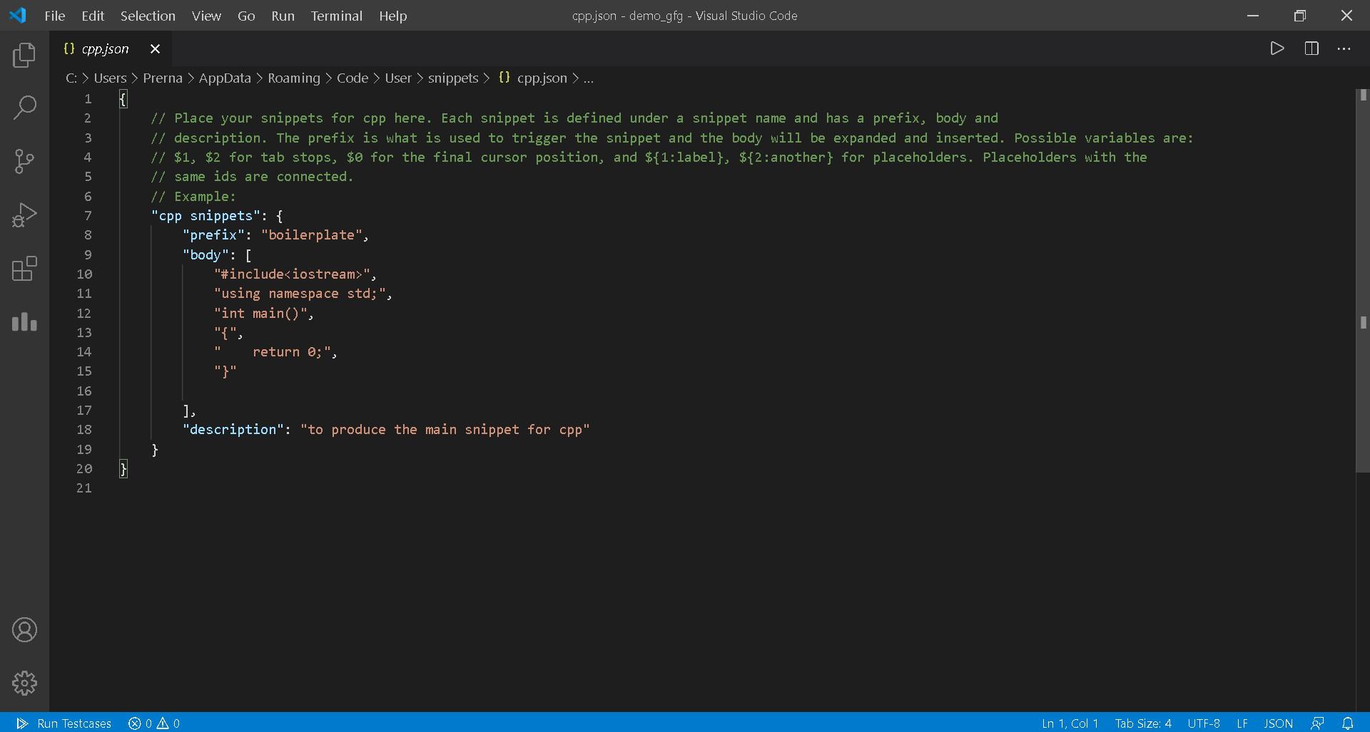 Add C++ code in JSON file