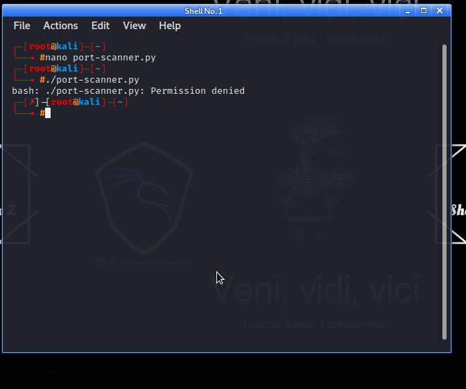 Design a port scanner on Kali Linux terminal by python