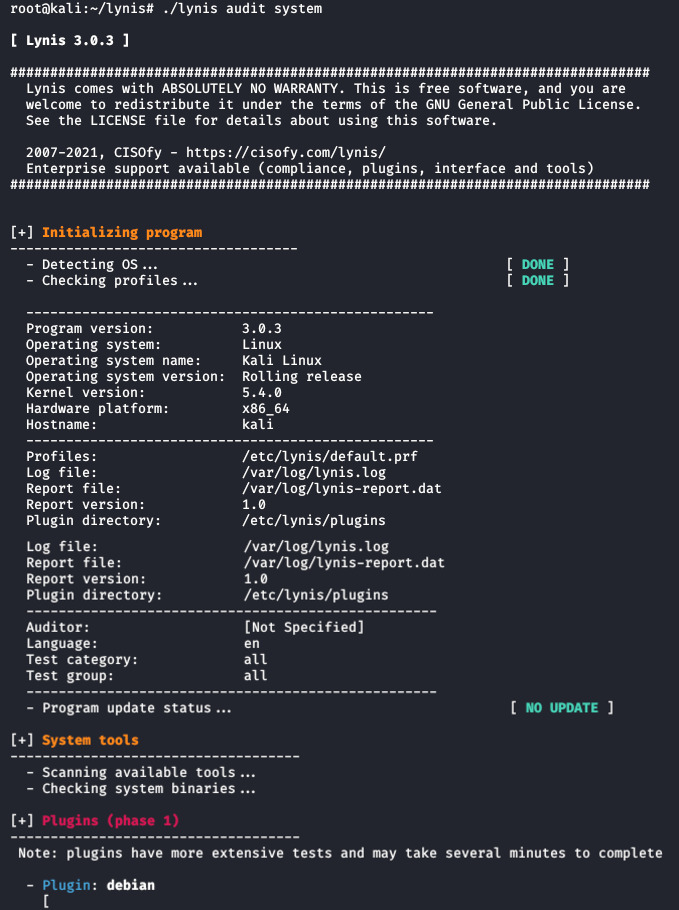 Lynis Security Tool for Audit and Hardening Linux Systems