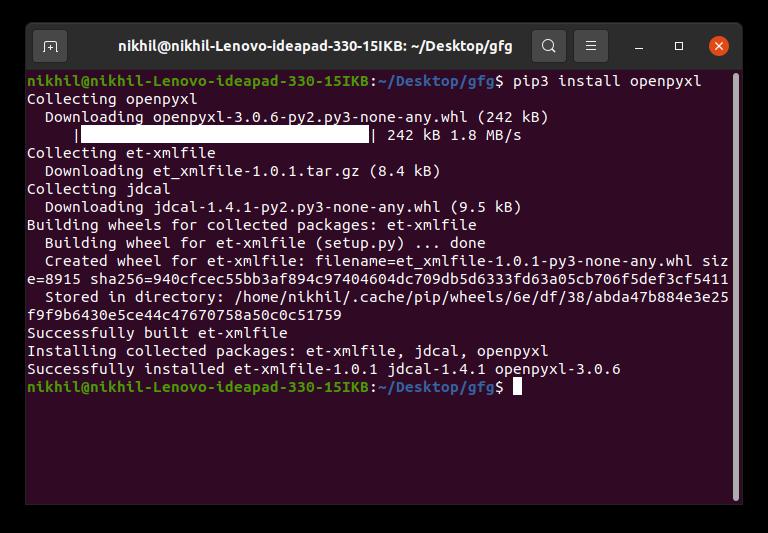 Python Excel tutorial openpyxl install