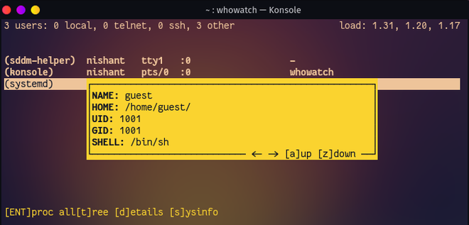 whowatch Monitor Linux Users and Processes in Real Time