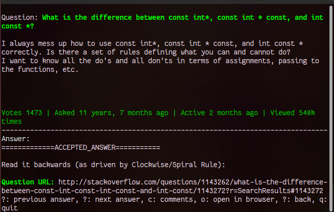 SoCLI A Tool to Search Stack Overflow from Linux Terminal