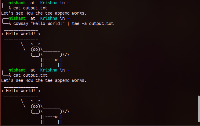 How to save output of command in a file in Linux.