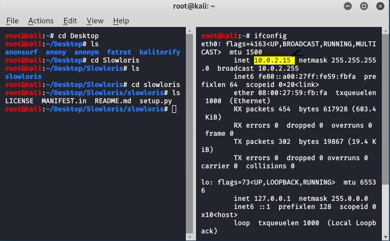Slowloris DDOS attack tool tutorial in KALI LINUX