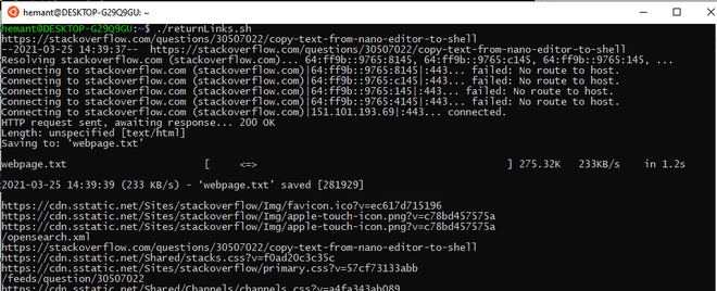 Shell script output all the Internal and External links from the website url