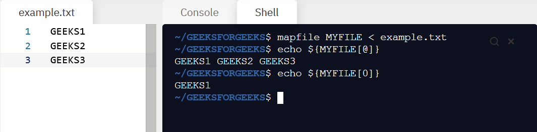mapfile command in Linux with examples