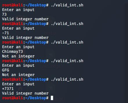 Shell Script to validate integer input, allow negative integers too