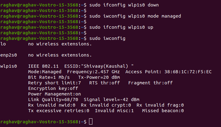Put WiFi interface into Monitor mode in LINUX