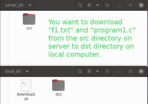 Shell Script to download the files from a source directory on a remote FTP server