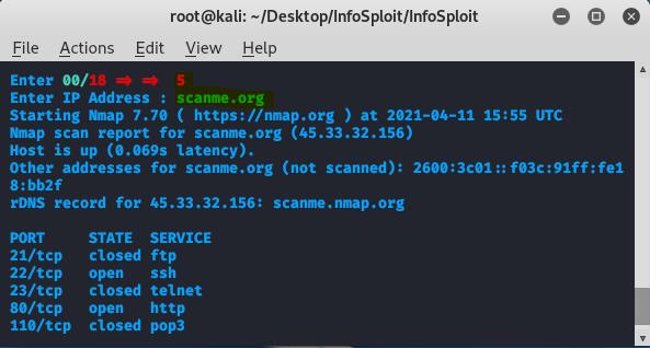 port scanning with infosploit