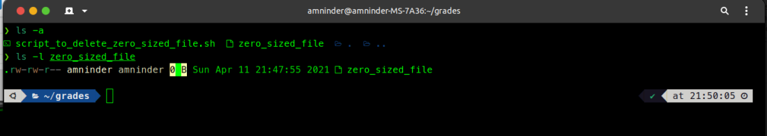 creating zero sized file sin linux