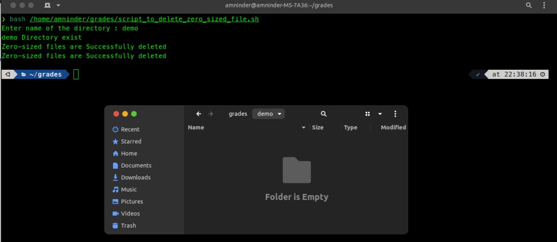 script to delete zero sized file