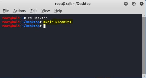 create a directory for R3con1z3