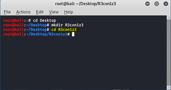 change directory to r3con1z3
