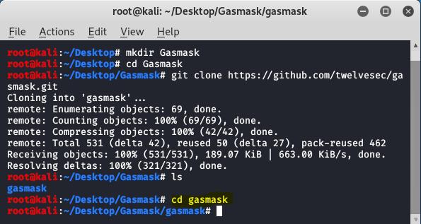 change directory to gasmask