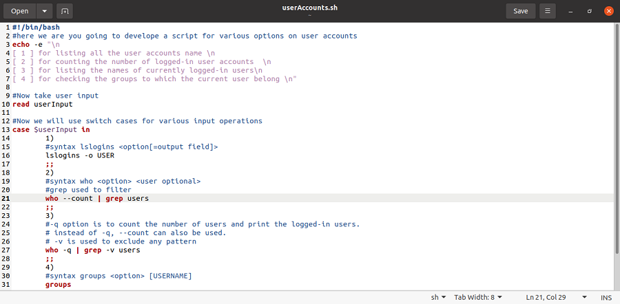shell script for listing users