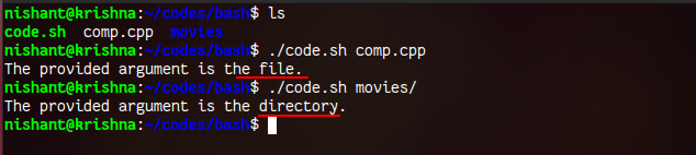 script to check argument passed is a directory or a file