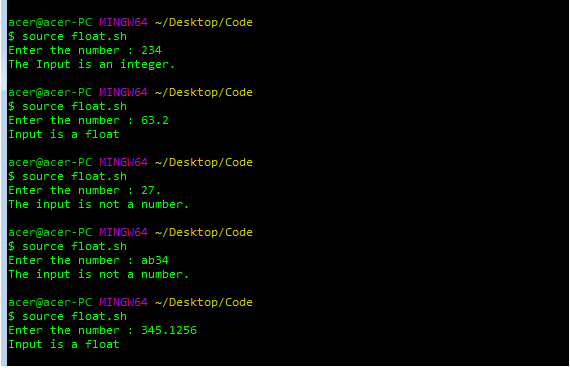 Shell Script to test whether a number is a valid floating-point value