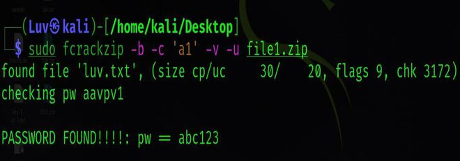 Fcrackzip tool in Kali Linux to crack a Zip File Password