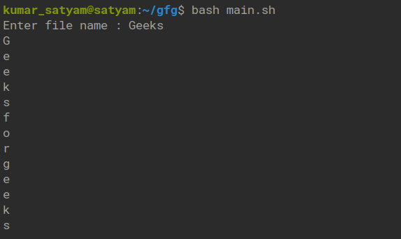 Shell Script To Read Data From A File