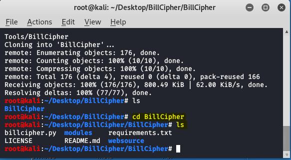 BillCipher – An Information Gathering Tool in Kali Linux