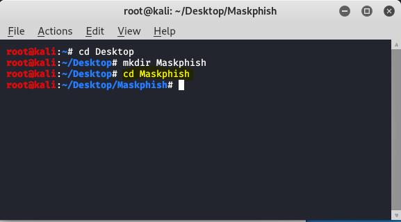 change directory to maskphish