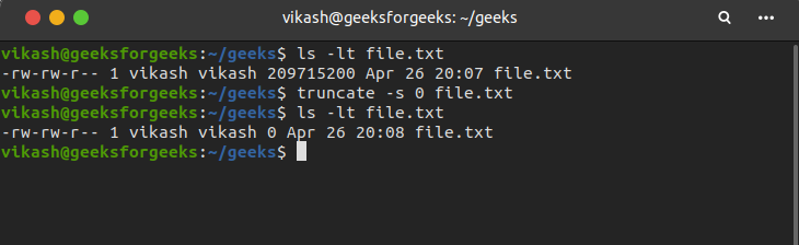 truncate to empty a file