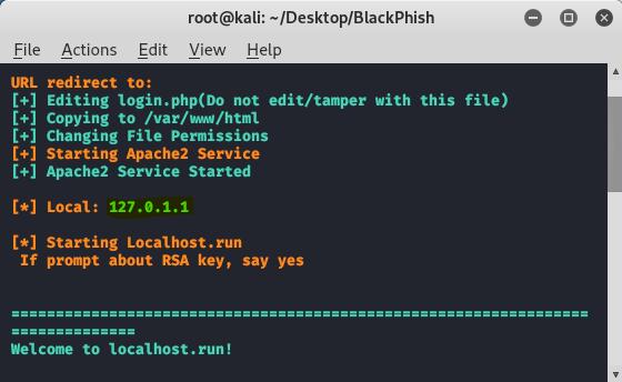 Blackphish - phishing tool in kali linux