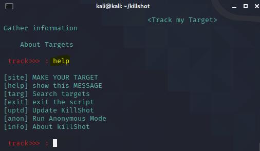 Killshot -Information gathering Tool in kali linux