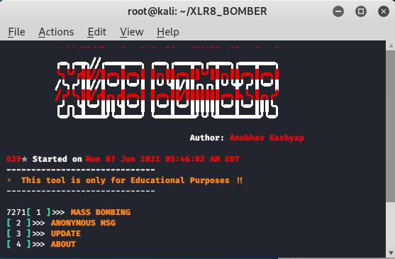XLR8_BOMBER - SMS Bomber in Kali Linux