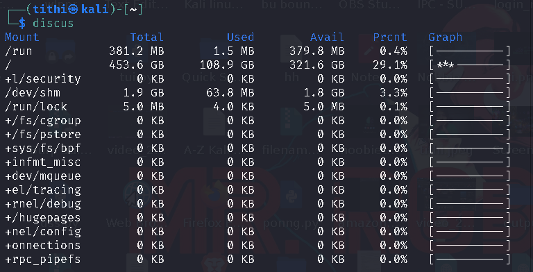 Discus Show Colourised Disk Space Usage in Linux