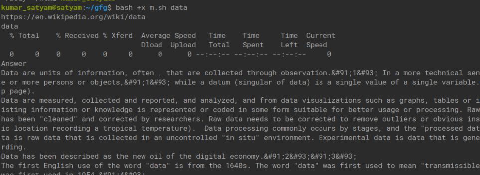 Shell Script to Scra the Definition of a Word From Wikipedia