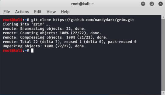 Grim- Information Gathering tool in kali linux