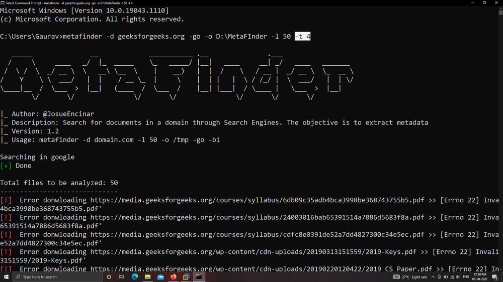 MetaFinder – Search For Documents In A Domain Through Google